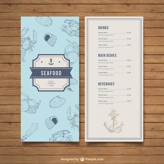 Меню ресторана морепродуктов Бесплатные векторы