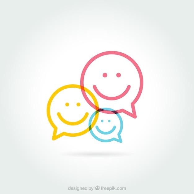 Речь пузыри с улыбающимися лицами Бесплатные векторы
