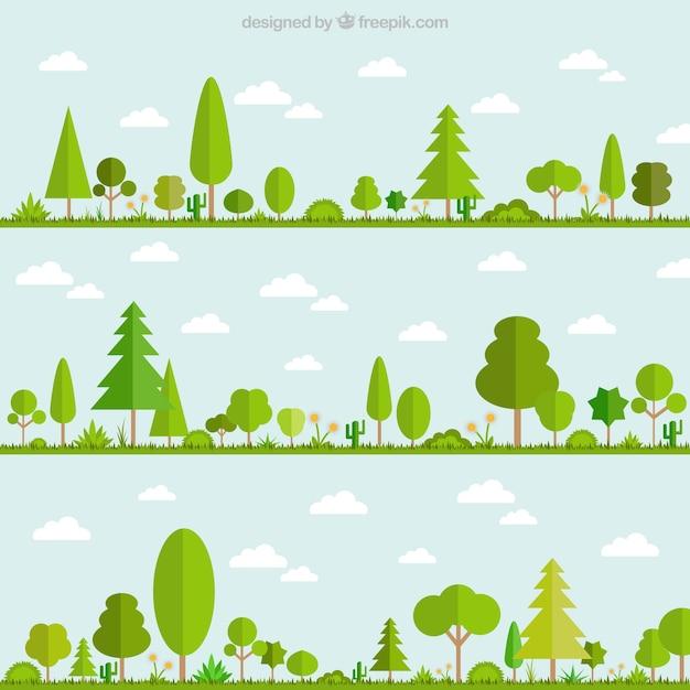 Зеленые деревья Бесплатные векторы