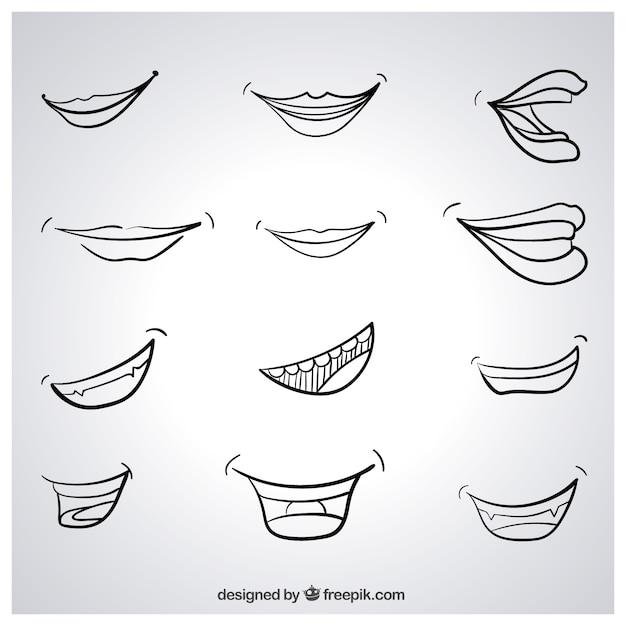 Эскизные улыбки Бесплатные векторы