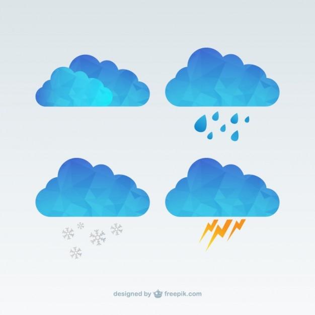 ポリゴン雲 無料ベクター