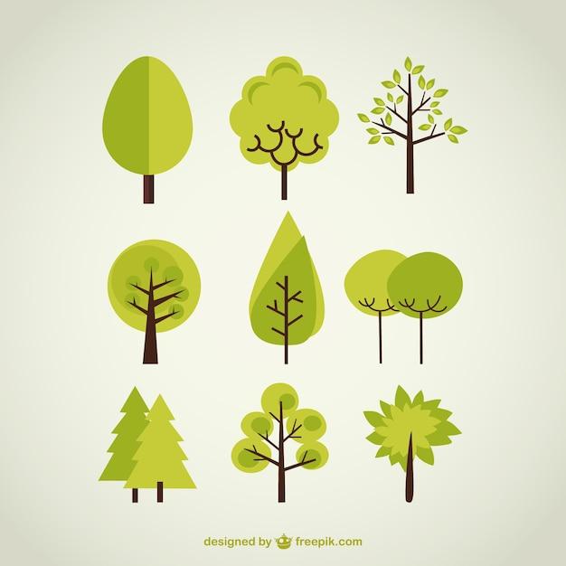 木のコレクション 無料ベクター