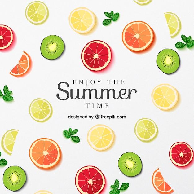 夏用のフルーツスライスのポスター 無料ベクター