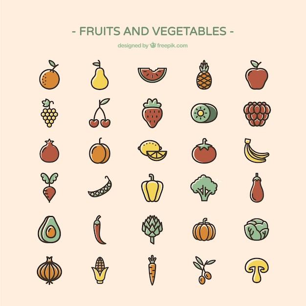 果物と野菜のアイコン 無料ベクター