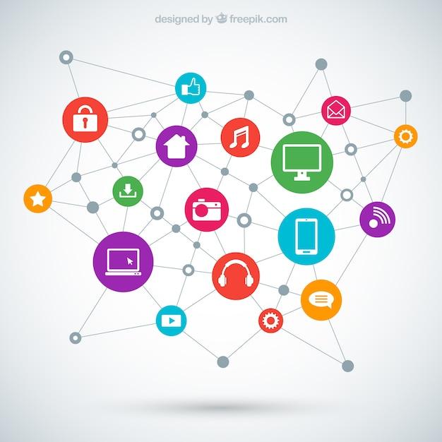 テクノロジー接続コンセプト 無料ベクター