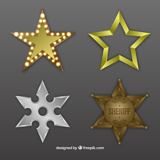 Металлические звезд Бесплатные векторы
