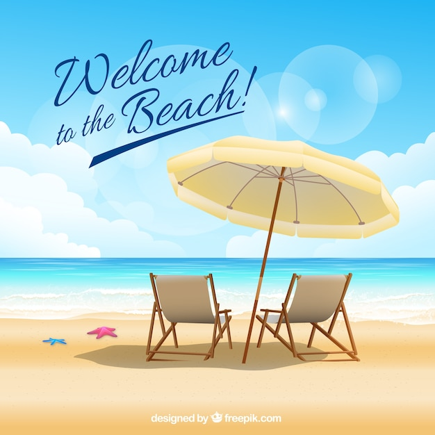 Добро пожаловать на пляж Бесплатные векторы