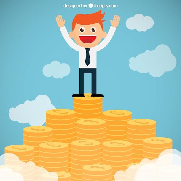 お金の山の頂上にビジネスマン 無料ベクター