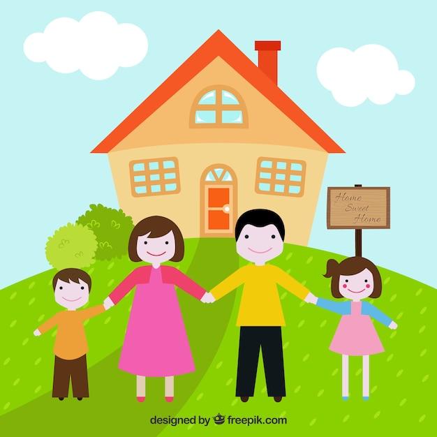 Картинка домик с семьей