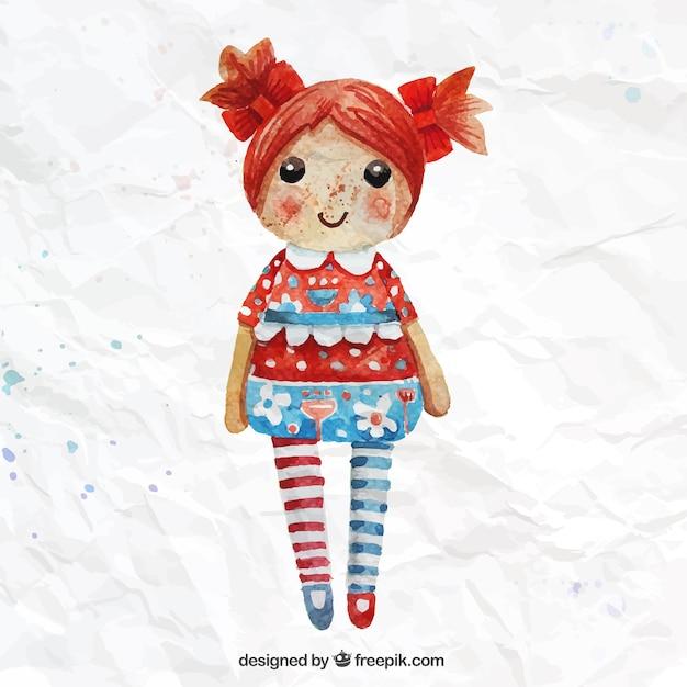 手描きの人形 無料ベクター
