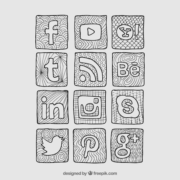 Эскизные социальной сети значки Бесплатные векторы