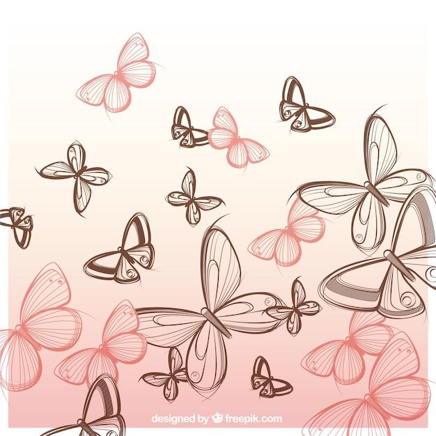 手描き蝶の背景 無料ベクター