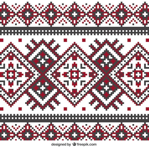 幾何学的なスタイルで編みパターン 無料ベクター