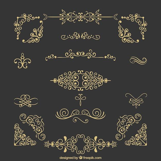 Коллекция старинных украшений Бесплатные векторы