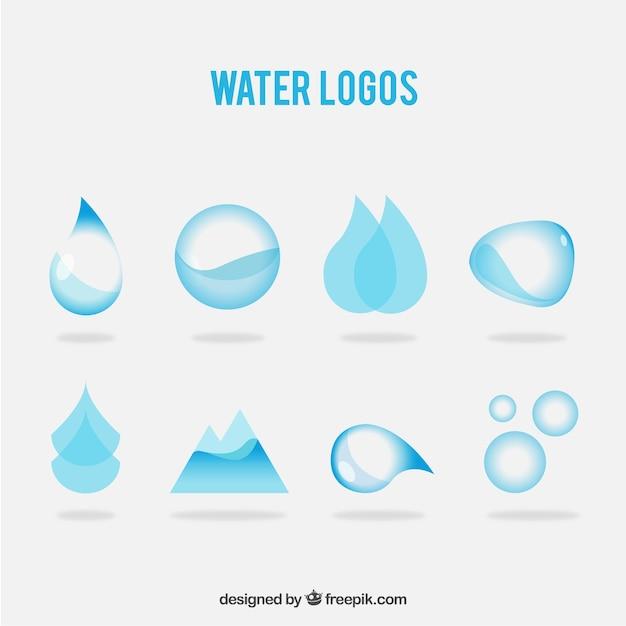 Разнообразие водных логотипов Бесплатные векторы