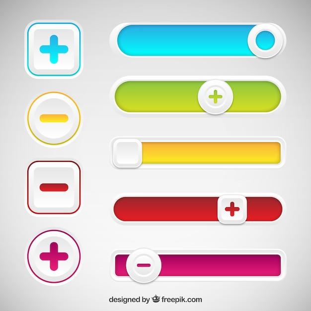 Красочные кнопки Бесплатные векторы