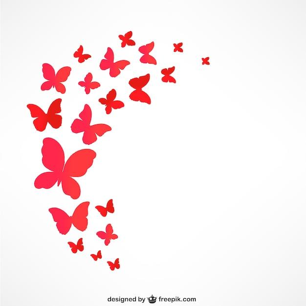 レッド蝶が飛んでいます 無料ベクター