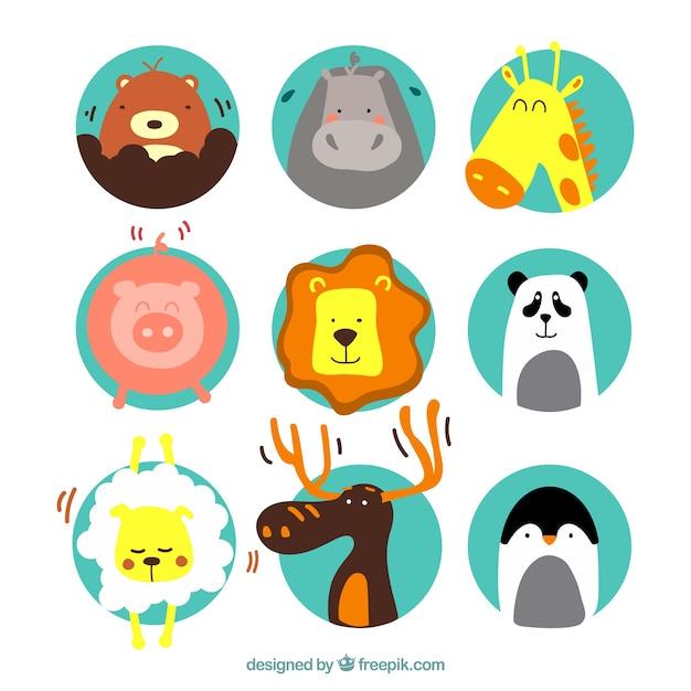 Симпатичные иллюстрации животных Бесплатные векторы