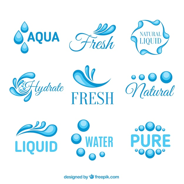 Аква логотипы Бесплатные векторы