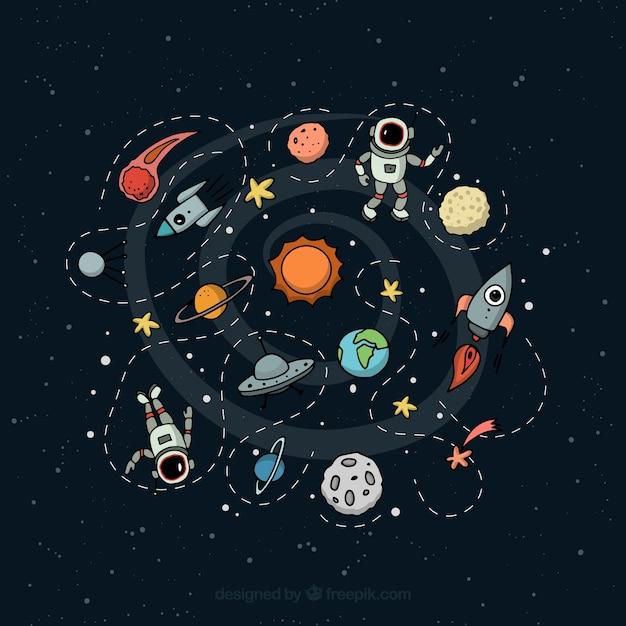 宇宙のイラスト 無料ベクター