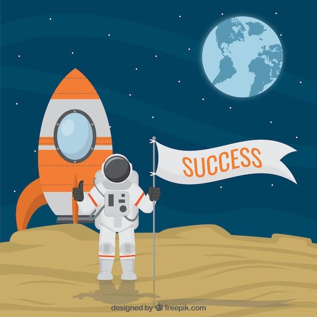 Космонавт с ракетой картинка