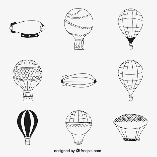Эскизные воздушные шары Бесплатные векторы