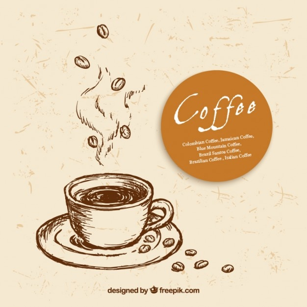 Ручной обращается чашка кофе Premium векторы