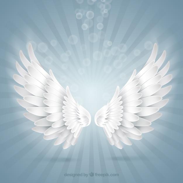 明るい天使の羽 Premiumベクター