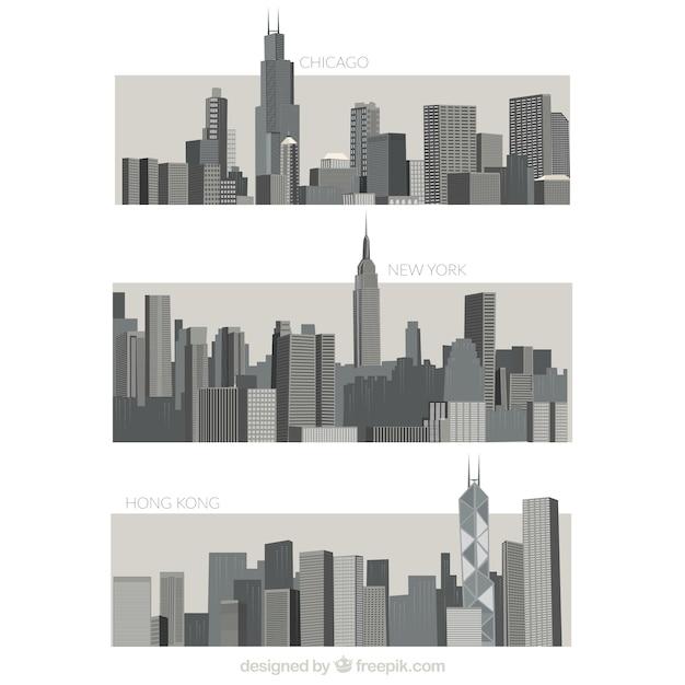 Разнообразие серых городов Бесплатные векторы