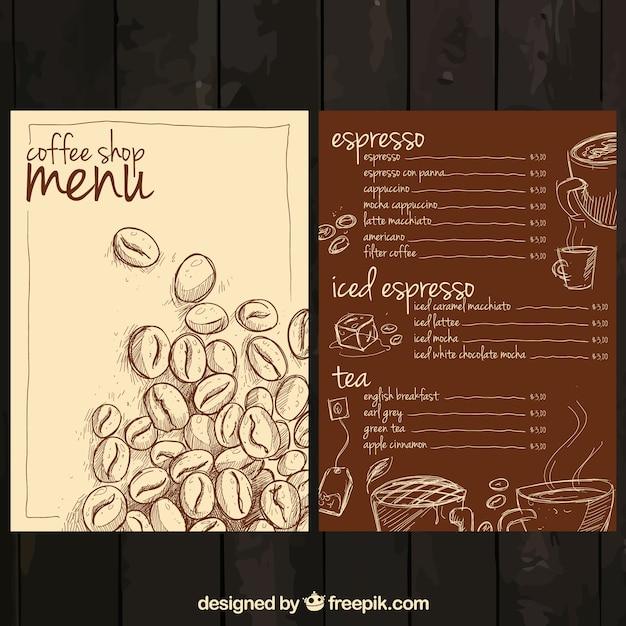 Ручной обращается меню кофе Бесплатные векторы