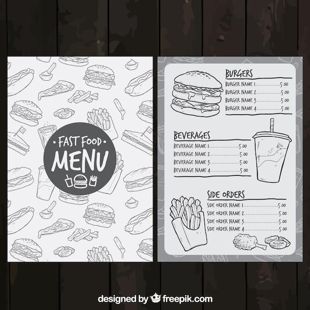 Эскизные меню быстрого питания Бесплатные векторы