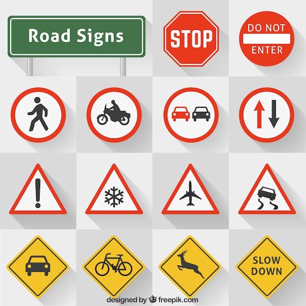 Коллекция дорожные знаки Бесплатные векторы