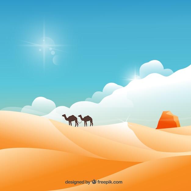 砂漠の風景 無料ベクター