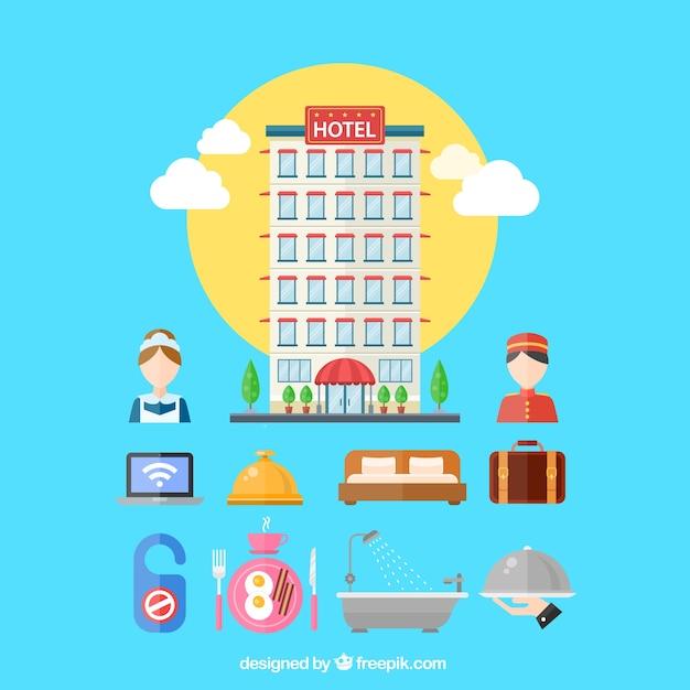 Разнообразие элементов отелей Бесплатные векторы
