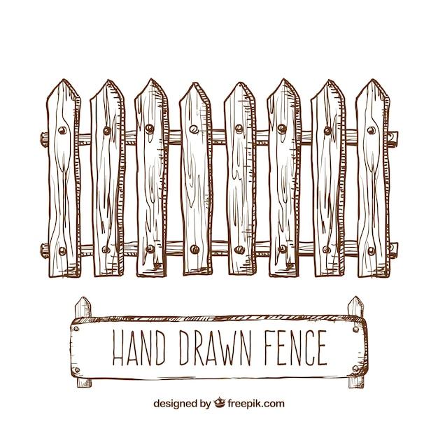 手描きフェンス 無料ベクター