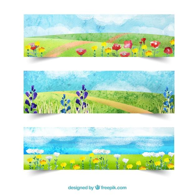 春の水彩風景バナー 無料ベクター