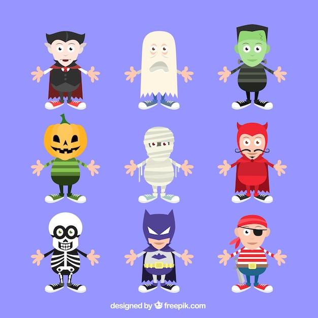 Хэллоуин костюм коллекция Бесплатные векторы