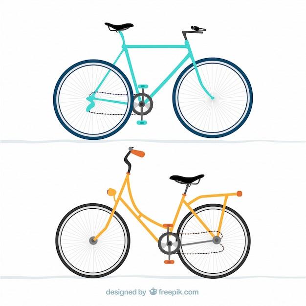 Синий и желтый велосипеды Бесплатные векторы