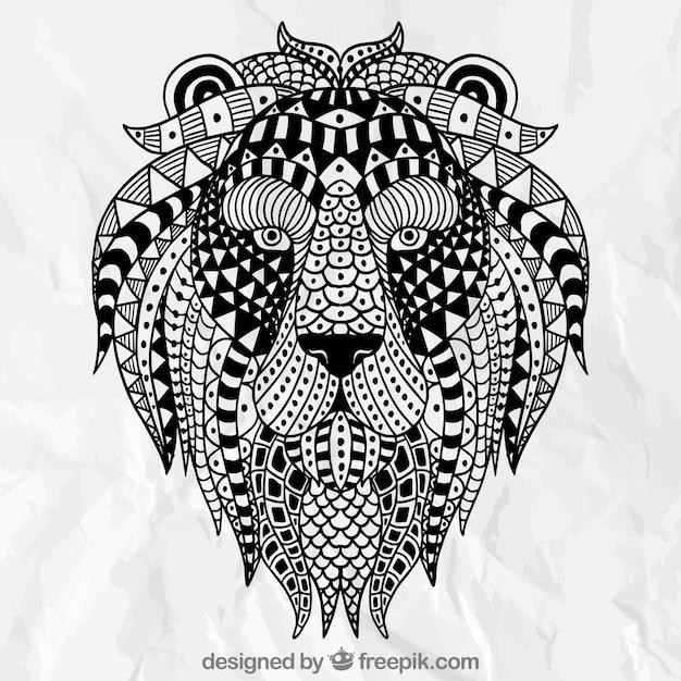 抽象的な民族ライオン 無料ベクター
