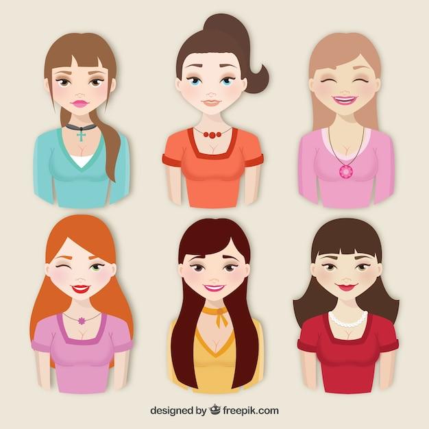 Коллекция красивых женщин Бесплатные векторы