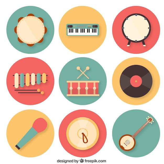カラフルな楽器コレクション 無料ベクター