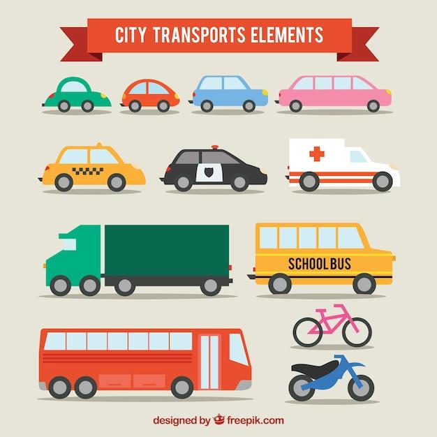 Город транспорты Бесплатные векторы