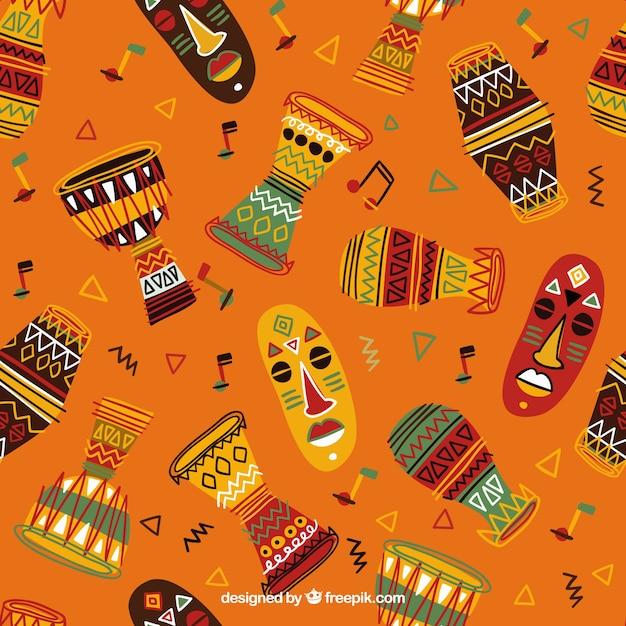 手描きカラフルなアフリカのパターン 無料ベクター