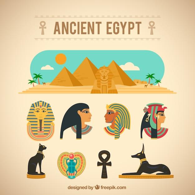 Древние элементы египет Бесплатные векторы