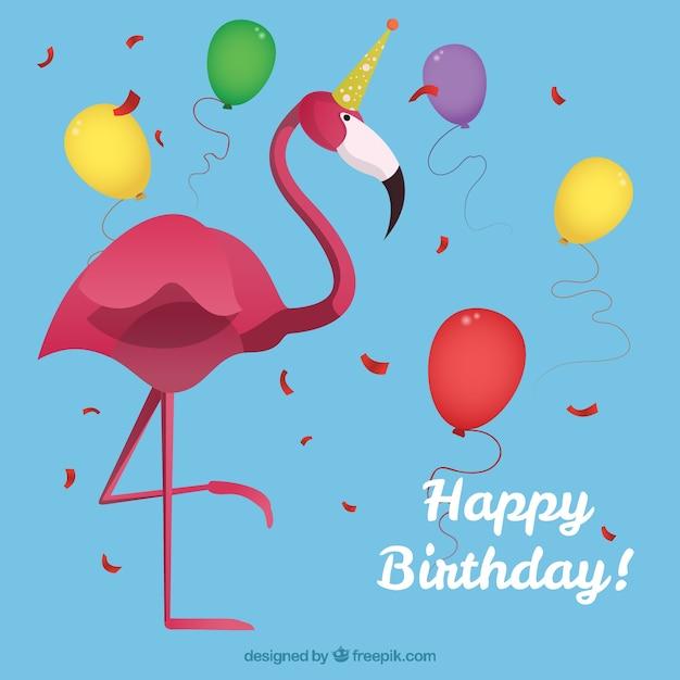 Картинка с днем рождения фламинго