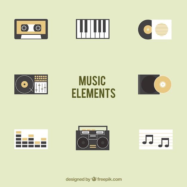 Коллекция музыкальных элементов Бесплатные векторы
