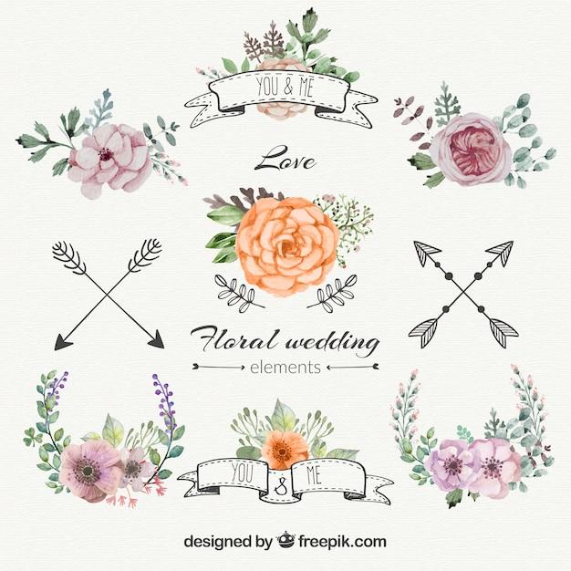 Цветочные свадебные украшения установить Бесплатные векторы