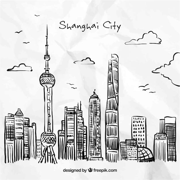 手描き上海市 無料ベクター