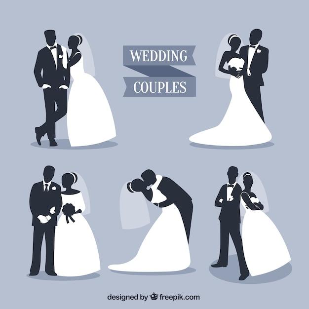 Свадебные пары силуэты набор Бесплатные векторы