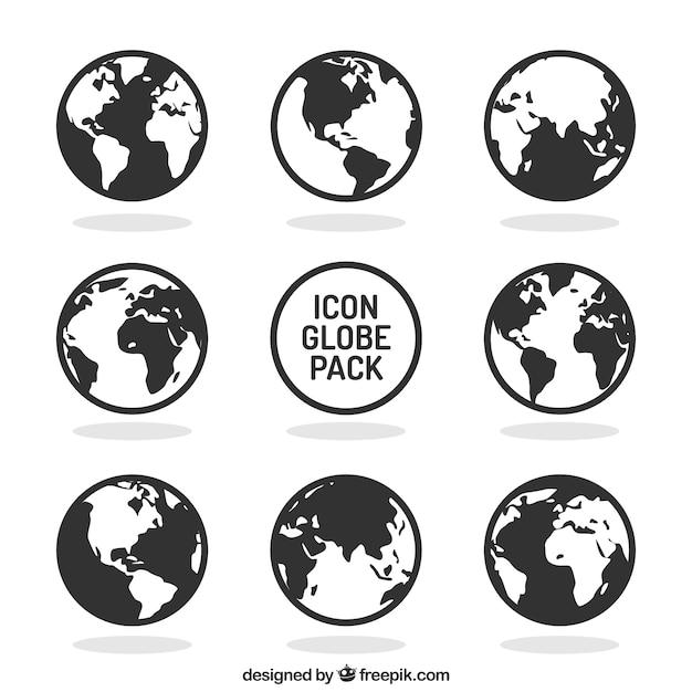 Глобус коллекция икон Бесплатные векторы